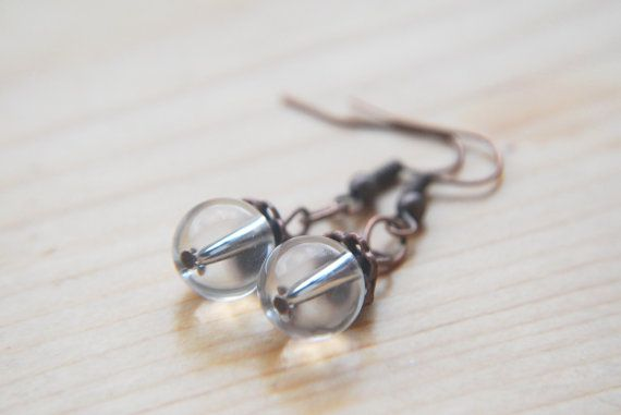 Hey, I found this really awesome Etsy listing at https://www.etsy.com/listing/195598512/clear-glass-earrings-copper-tone