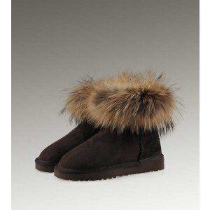 UGG γυναίκες Mini γουνών αλεπούδων 5854 μαύρες μπότες