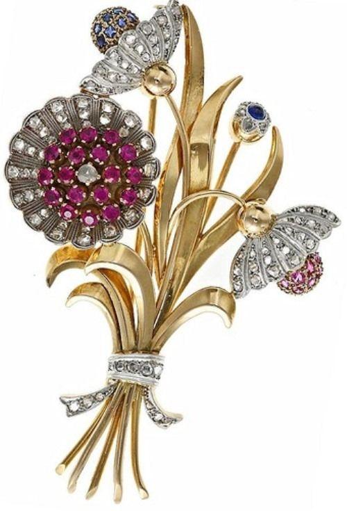 Art Deco flower bouquet brooch