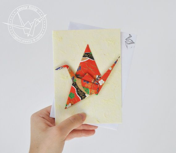Introducing new origami greeting cards at the Teeny Folds shop on Etsy. These handmade cards are blank on the inside, making it perfect for any greeting, any occasion. This beautiful card is a red peace crane on yellow card. #etsy #origami #crane #stationery #handmade #cards