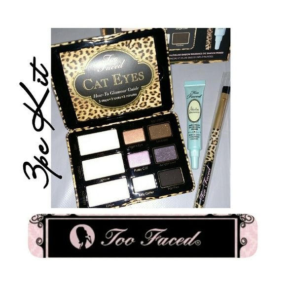 Too Faced Cat Eyes Purrfection 3PC Kit 3PC KIT! The timeless Cat Eye just got sexier. From ancient Egypt to the mod 60s and punk 80s to today, it's always been an iconic beauty essential. This classic has nine matte, shimmer and glitter textures in warm and cool tones. Includes 3 wet-and-dry formulas for intense precision lining and a perfect wing tip. Deluxe Insurance Primer. An Angled eye brush. Cat Eye Collection includes Glamour Guide. 100% Authentic BNIB Never Used/Swatched/Photos From…