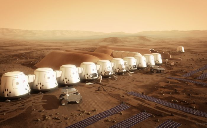 An artist's illustration of a Mars settlement. Image: Bryan Versteeg/MarsOne