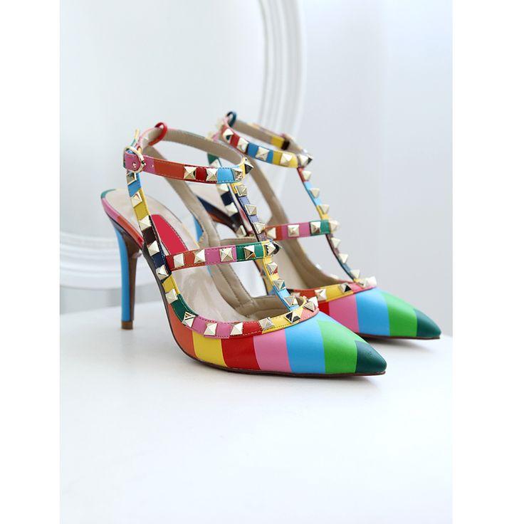 Aliexpress.com: Comprar Nuevo 2015 Valentin * mujeres moda remaches rockstud tacones correa de tobillo zapatos en punta sexy tacones delgados de verano sandalias de las bombas de las niñas sandalia confiables proveedores de 3Shine.