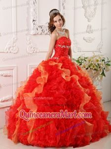 Popular Sweetheart Ruffles and Beading Red Quinceanera Dress for 2014