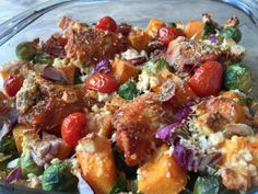 Pompoen, spruitjes en kippendijtjes ovenschotel 8,5 KH (4 uit recept)