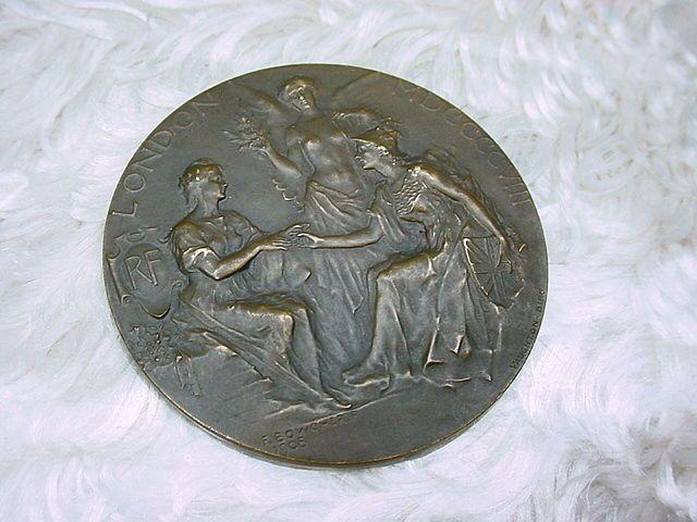 1908 Bronze London Medal Signed F. Bowcher w 3 Women