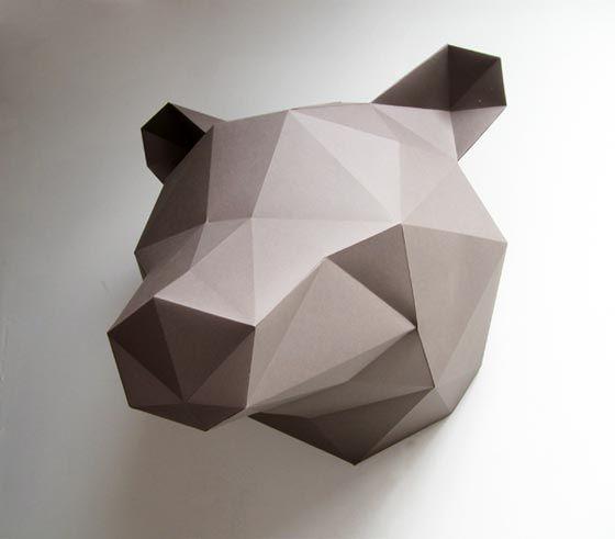 Tête d'ours en origami - by Assembli
