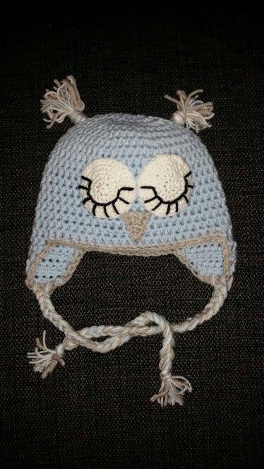 Crochet owlhat for newborn♡