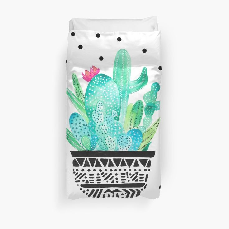 Watercolor Cactus duvet cover #watercolor #cactus #cacti #plants #botanical #floral #artist #dessertart #desert #chic #trends • Also buy this artwork on home decor, apparel, stickers, and more. #duvet #bed #bedroom #bedding
