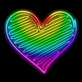 Amor Neon Light Heart Psychedelic stock photography