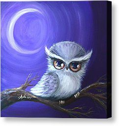 Cute Owl Painting Canvas Prints - New Moon Owl Canvas Print by Agata Lindquist
