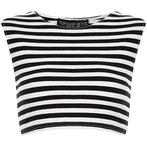 TOPSHOP Petite Stripe Stretch Crop Top (£6.87) ❤ liked on Polyvore featuring tops, crop tops, shirts, blusas, black, petite, striped shirt, petite tops, topshop and stripe crop top