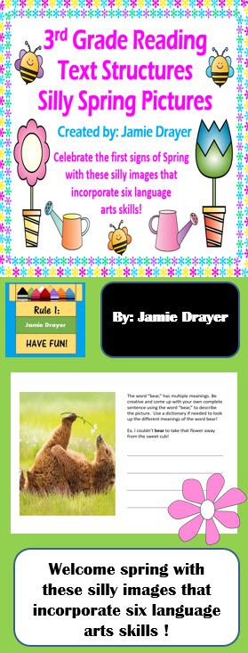 Welcome spring with this silly spring images text structures activity! This product comes with 20 clip art/real life images for students to apply language arts skills to. Skills covered include identifying verbs, writing in compete sentences, synonyms, using pictures as context clues, and multiple meanings of words.  These are perfect for morning work, early finishers, centers, etc. because they are engaging and short. Students will love the wacky nature the images bring to the season!