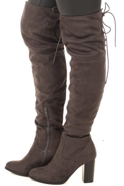f44767246cd Black Faux Suede Knee High Boots with Tie Back Detail for Sale ...