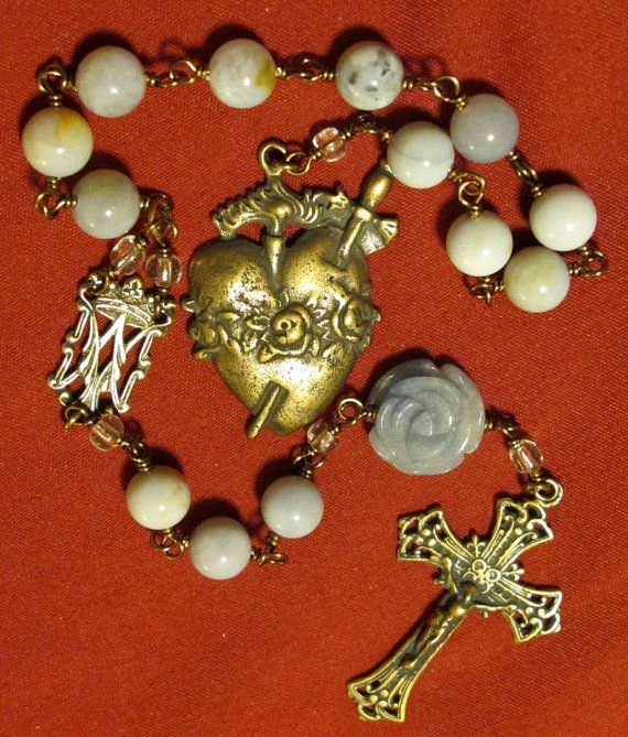 Immaculate Heart Tenner Rosary in Chalcedony by DivineHeirlooms, $65.00