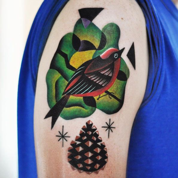 Surreal Songbird Tattoo Design by David Cote