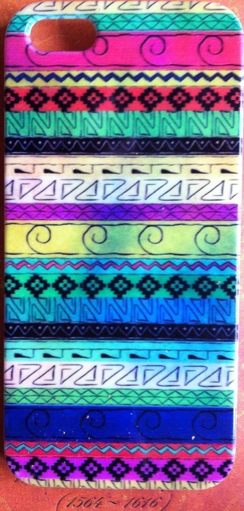 IPhone 5 and 5s Hard Plastic Snap-On Case - Aztec Tribal Water Color Pattern