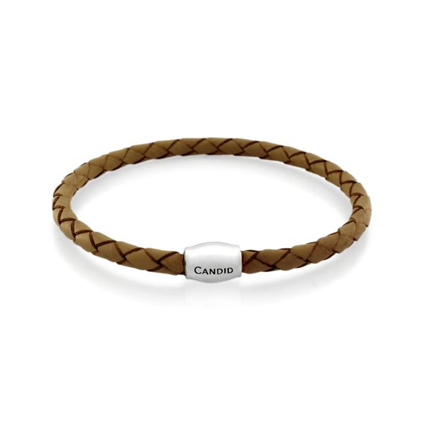 Candid Taupe Plaited Leather Bracelet