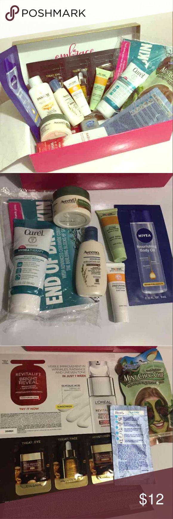 ❤️Beauty Bundle❤️ All are either sample /deluxe sample /travel sized.  Body, hair, face, teeth beauty products! 13 products in total.  -L'Oréal age perfect hydra nutrition sample -Nivea nourishing body oil  -L'Oréal recitalist.  -mint choc chip Face mask.  -one biore face strip.  -curel hydrotherapy.  -Colgate whitening toothpaste.  -aveeno moisturizing body yogurt.  -aveeno skin relief body wash.  -Pantene hydrating shampoo -glide dental floss -moraz pregnancy polygonum foot cream -moraz…