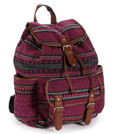 """Stretch out the walk to class for as long as possible -- ya gotta flaunt our cool Geo Mix Backpack! It's designed with a snap-flap front pocket and two open side pouches; the roomy cinch-top interior even secures with a magnetic snap so your belongings won't fly out. A vibrant pattern adds a stylish touch.<br><br>W 13"""" x H 14"""" x D 6.5""""<br>Two adjustable back straps.<br>Style: 7361. Imported.<br><br>Cotton canvas with faux leather trim."""