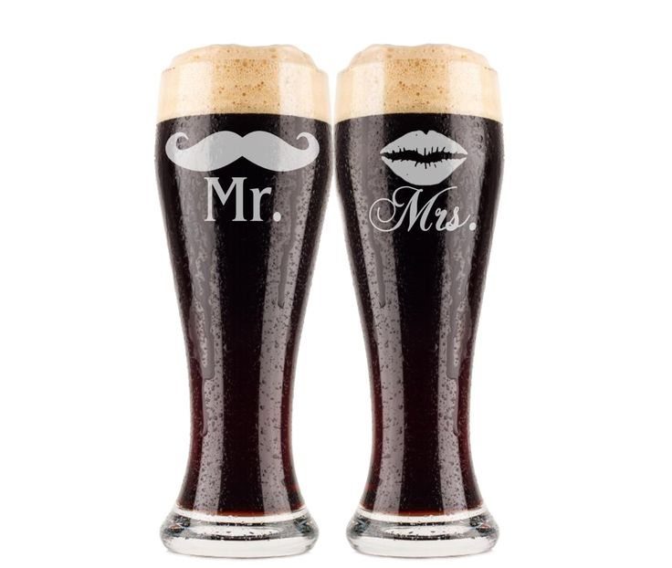 Mr. and Mrs. Beer Glasses, 2 Etched Pilsners, Just Married, Couples Gift, Wedding Gift, Mustaches and Lips, Housewarming Gift, Beer Glasses by UrbanFarmhouseTampa on Etsy https://www.etsy.com/listing/166677902/mr-and-mrs-beer-glasses-2-etched