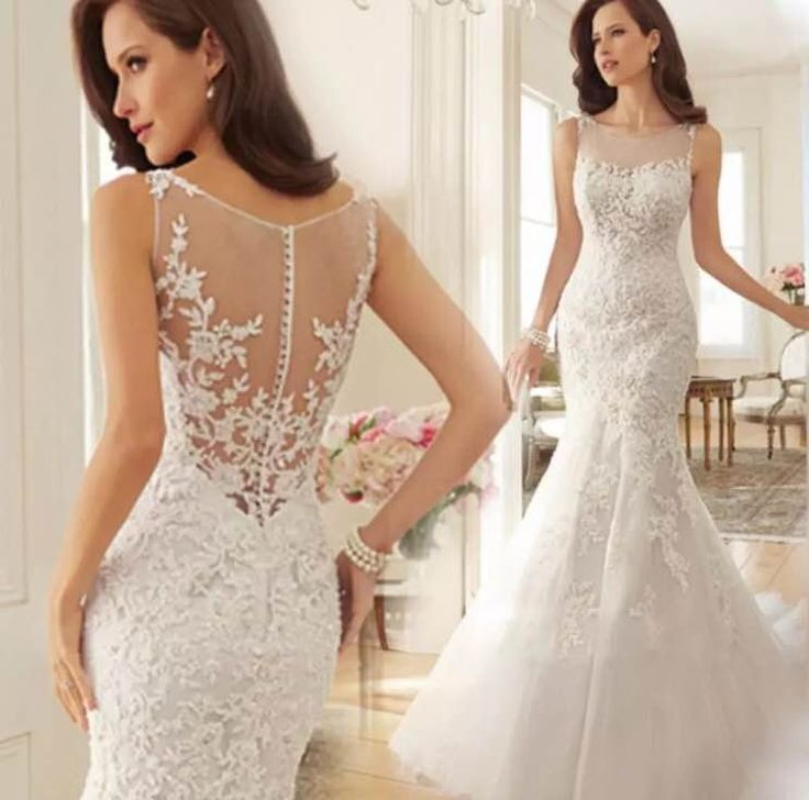 Elegant Lace Mermaid Trumpet Wedding Off White Detailed Court Train Gown Bridal Dress