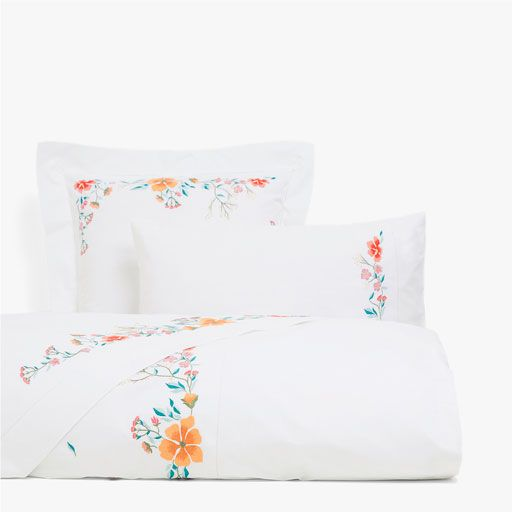 Image of the product Multicoloured floral embroidered duvet cover