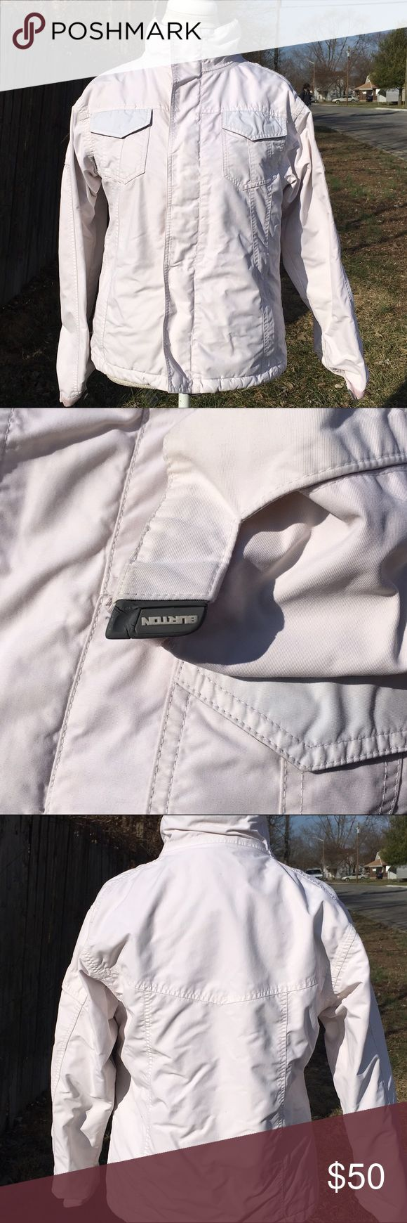 Burton Snowboards Coat Off white Burton coat in great condition. The lining is excellent except the ID holder on the inside is ripped. Burton Jackets & Coats Puffers