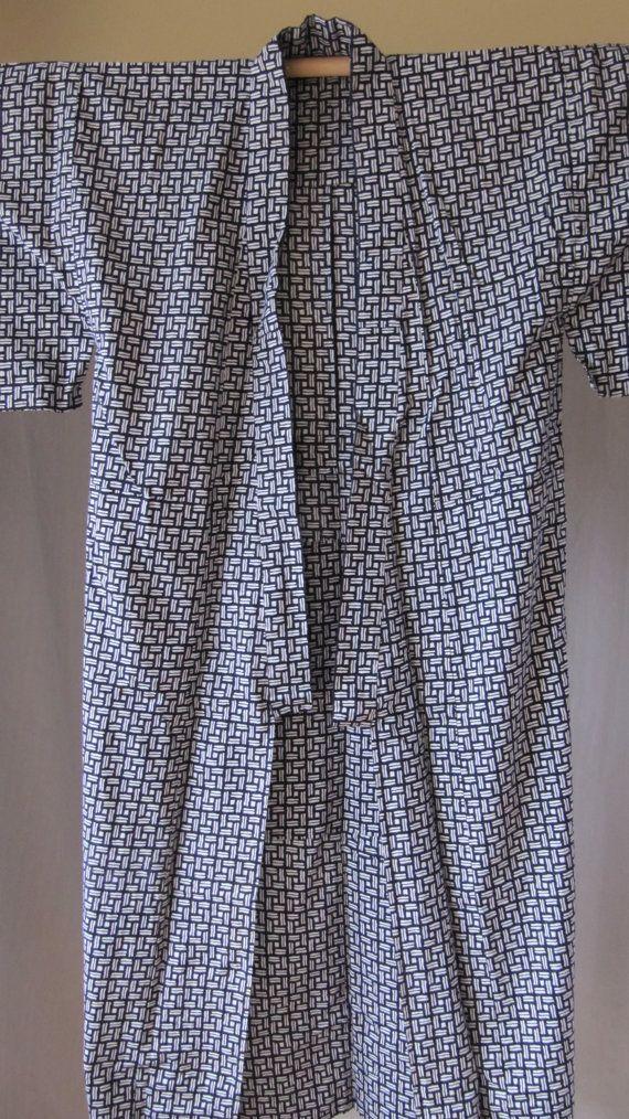 Vintage Cotton Yukata Kimono Robe Loungewear by VintagEclectix