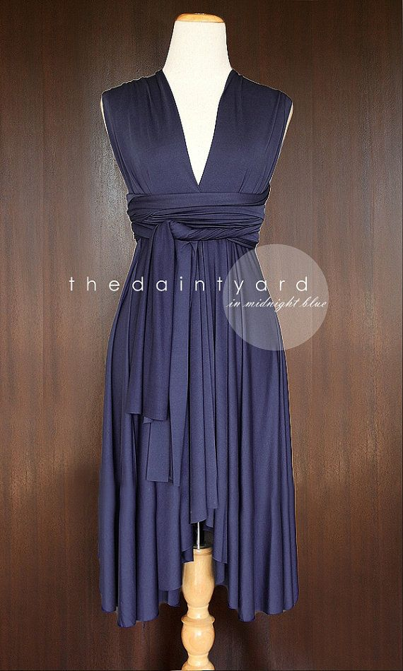 Midnight Blue Bridesmaid Dress Convertible Dress by thedaintyard