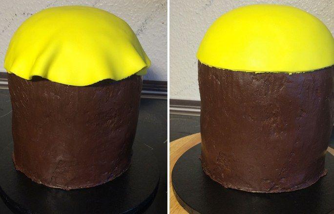 Minion-Kuchen Schritt 10: Eindecken - Minion-Kuchen Schritt für Schritt nachbacken - gofeminin