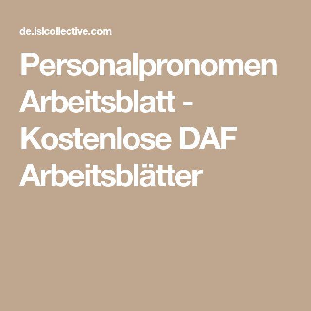 Personalpronomen Arbeitsblatt - Kostenlose DAF Arbeitsblätter