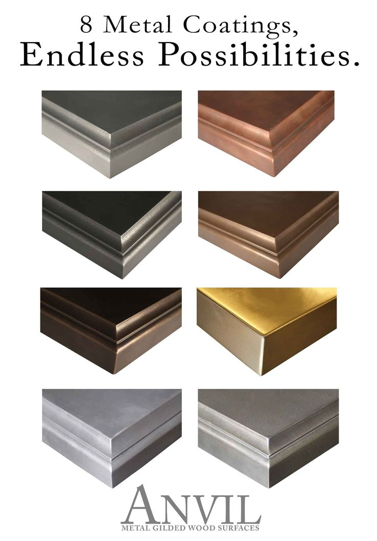 Anvil™ Metal Countertops are available in 8 metal coatings. #AnvilSeries http://www.glumber.com/exclusive-solid-wood-products/anvil-metal-countertops-exclusively-available-grothouse/