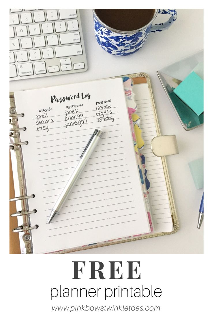 Free Printable Planner Insert Password Log - Free digital productivity print for A5 planners, mini binders, and Happy Planners - Organize all your online accounts and passwords with this simple printable page