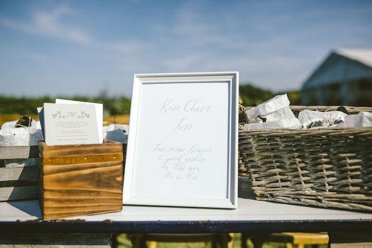 Vineyard Tuscan Wedding Ceremony Modern Calligraphy Sign Frame Program Petal Toss by Bon Paper House   Ravine Vineyard Estate Winery Wedding   Bon Paper House   Photos by Kieran Darcy