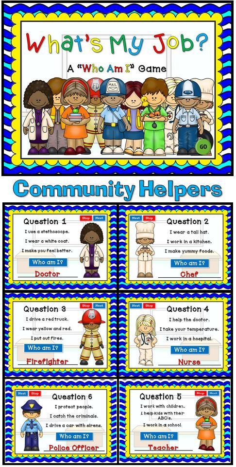 "My first Social Studies PPT Game! This ""Who Am I"" game will be tons of fun for your students. There are 10 questions and you just click on each question to go to it. Each question has 3 clues and student have to guess which community helper it describes. Clues include tools they may use, what they do, and where they may work. Great as a whole class or rainy day activity."