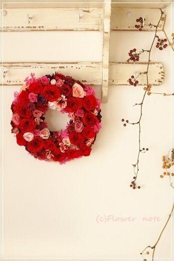 【今日の贈花】還暦のお祝いは赤いリースで|Flower note の 花日記 (横浜・上大岡 アレンジメント教室)