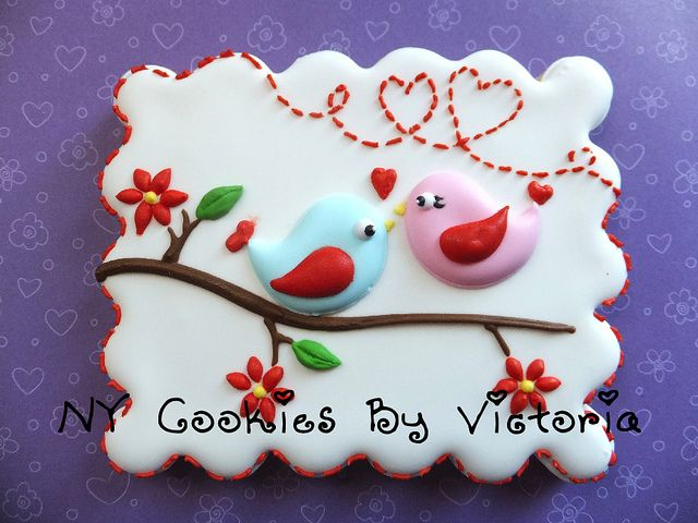 Valentine's Day Lovebirds decorated sugar cookies by NYCookiesByVictoria.  #royalicing