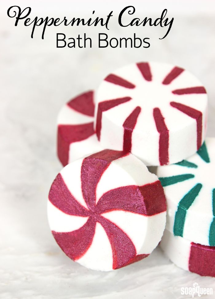 Peppermint Candy Bath Bombs Recipe for the Holidays! These make great homemade Christmas gifts!