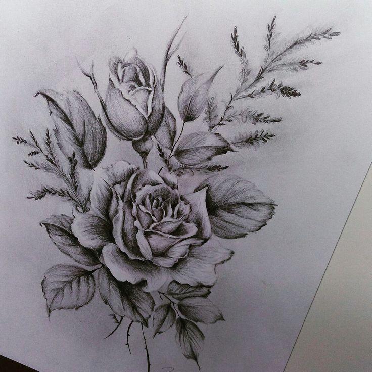 rose - zeichnung - bleistift - art - blumen