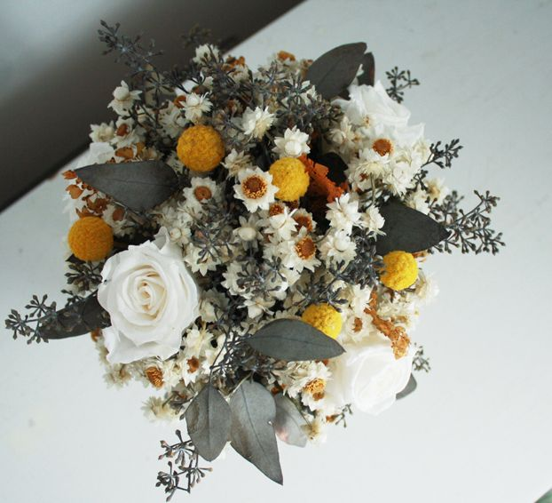 Flores Del Sol Preserved Eucalyptus Dried Ammobium Craspedia Billy Buttons Billy Balls Bits Of Br Dried Flowers Flower Decorations Bouquet Arrangements