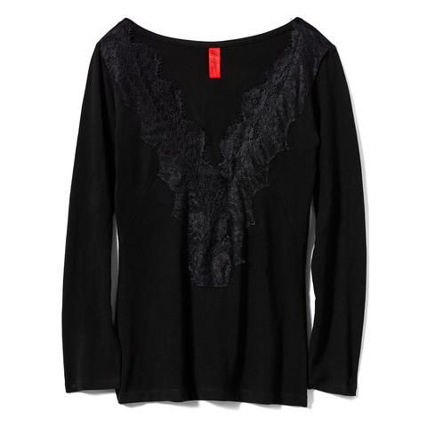 Black Long Sleeve Top #AkikoOgawa. #Lingerie #2016AW #CASHMERE&COMFORT www.aolingerie.com