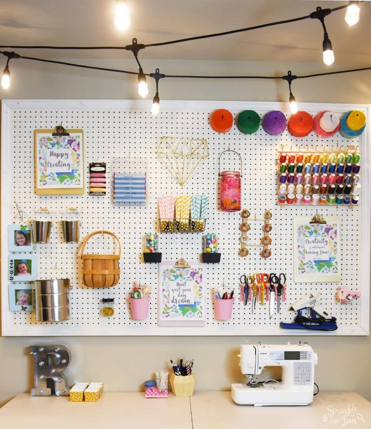 Café Lights are perfect in this Craft Room Makeover with Café Lights! The lights give off a nice ambient glow that really transforms this whole room.