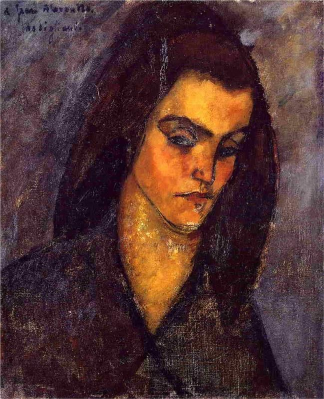 Portrait of Beatrice Hastings before a door - Amedeo Modigliani - WikiPaintings.org