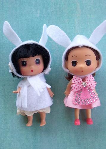 Winter felt bunny hats for little dollsBunnies Ears, Crafts Ideas, Felt Bunnies, Favorite Dolls, Winter Felt, Bunnies Hats, Handmade Inspiration, Clothing Crafts, Inspiration Blog