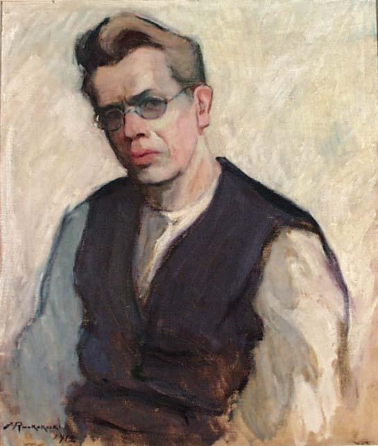 Jalmari Ruokokoski: Self-portrait with eyeglasses, 1912