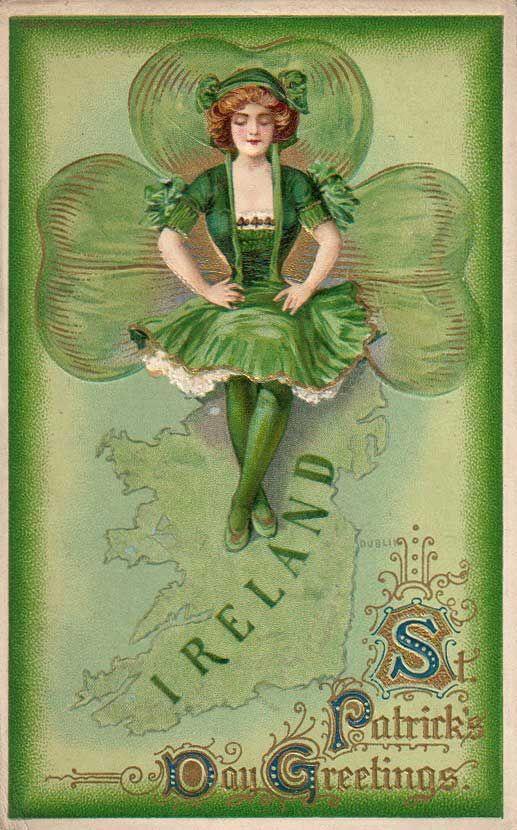 vintageVintage Postcards, Vintage Holiday Postcards, St Patricks Day, Greeting Cards, St Patti, Saint Patricks, Vintage St, Ireland Travel, Vintage Cards