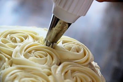 "Cream cheese buttercream. I will definitely try this one next time I make a rosette cake. I bet it tastes way better than the ""crusting"" buttercream"