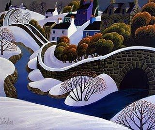 Village in the Snow by George Callaghan, Irish artist)  Tags: art, landscape, painting, village, bridge