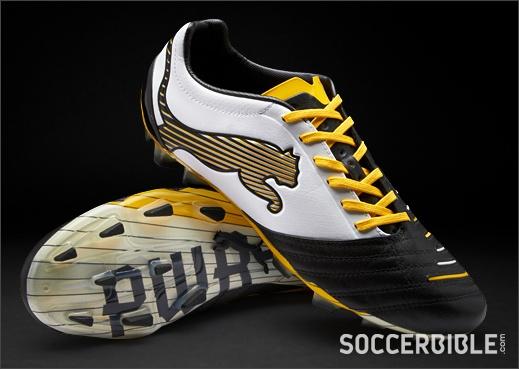 Puma PowerCat 1.12 SL Football Boots - Black/White/Yellow - http://www.soccerbible.com/news/football-boots/archive/2012/09/21/puma-powercat-1-12-sl-football-boots-black-white-yellow.aspx